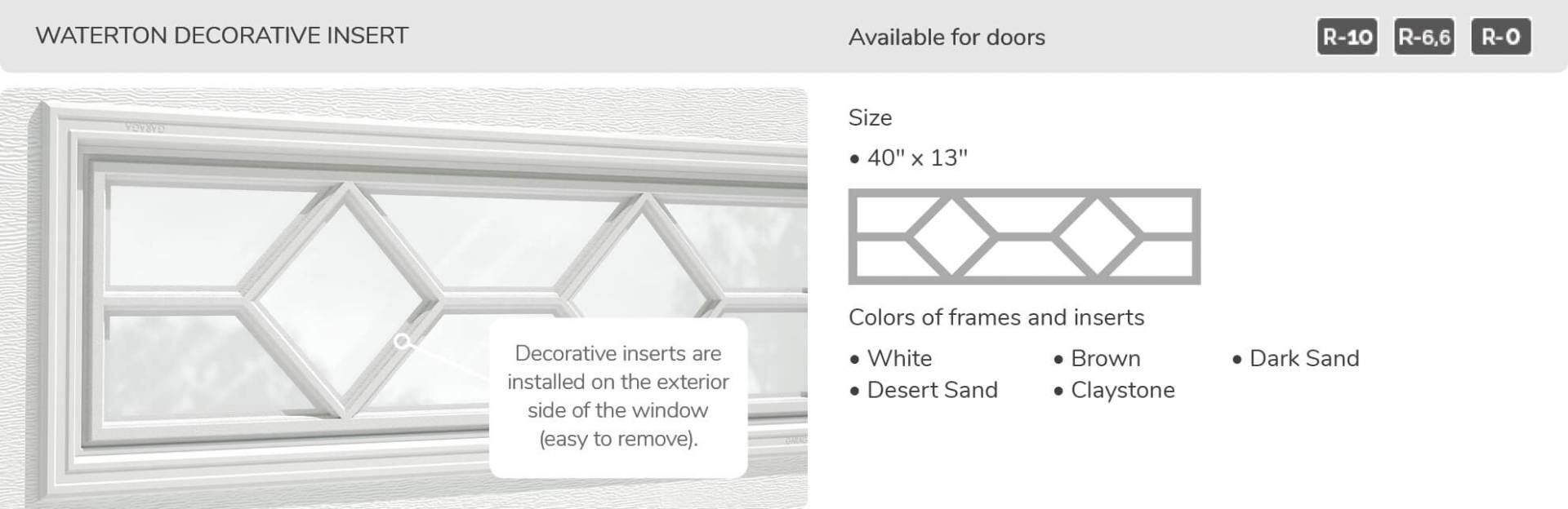Waterton Decorative Insert, 40' x 13', available for doors R-10, R-6.6, R-0
